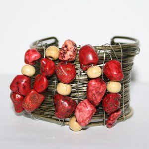 Vintage brass and red stone cuff bracelet